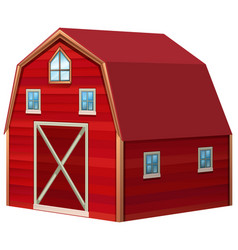 Red barn in 3d design vector