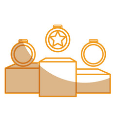 Set championship medals with podium isolated icon vector
