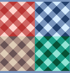 set checkered seamless diagonal background vector image vector image