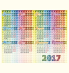 Simple colorful calendar for 2017 year vector image