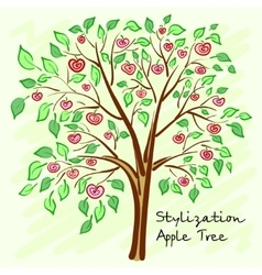 Stylized apple tree with lonely mysterious fruits vector image