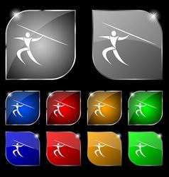 Summer sports javelin throw icon sign set of ten vector