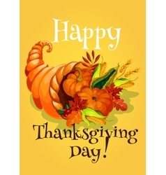 Thanksgiving Day cornucopia greeting card vector image