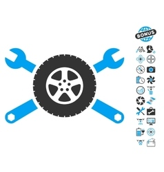 Tire service wrenches icon with copter tools bonus vector