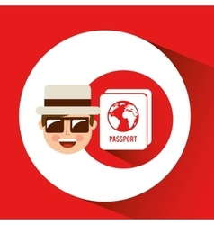 Tourist man with camera and passport vector