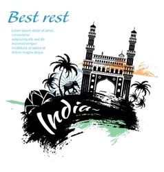 Travel India grunge style vector image vector image