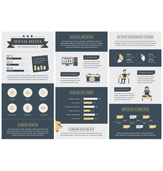 Vintage social media infographics template vector image