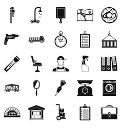 warehouses icons set simple style vector image