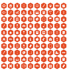 100 stationery icons hexagon orange vector image vector image