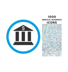 Bank Building Rounded Symbol With 1000 Icons vector image