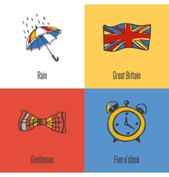 British national symbols icons set vector