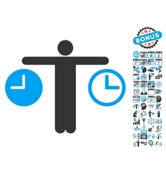 Person compare clocks flat icon with bonus vector