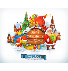Merry christmas and happy new year santa claus vector
