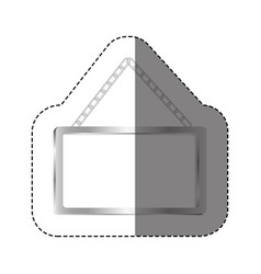 Grayscale silhouette sticker with rectangular vector