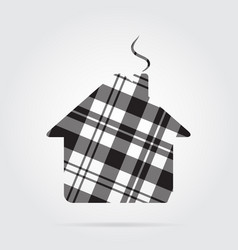 Grayscale tartan isolated icon house with chimney vector