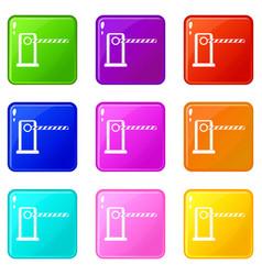 Parking entrance icons 9 set vector