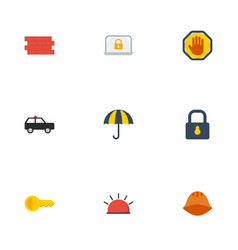 Flat icons padlock clue parasol and other vector