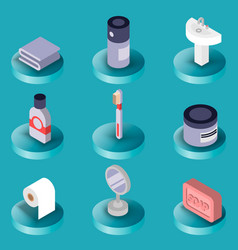 Personal hygiene flat isometric icons vector