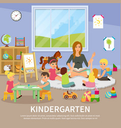Kindergarten flat composition vector