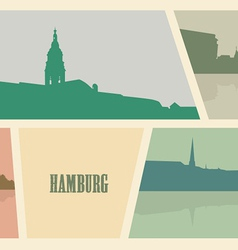 Contour of buildings in the city of hamburg vector