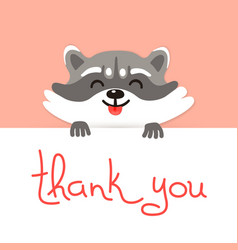 Cute raccoon says thank you vector