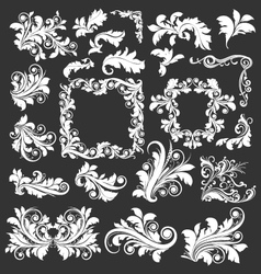 Vintage floral decorative leaves design elements vector