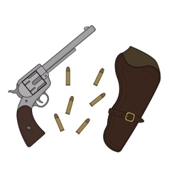 Wild west revolver holster bullets vector image