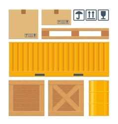 Box pallet container wooden crates meta barrel vector