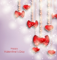 Shimmering Background with Hanging Hearts for vector image