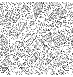 Cartoon hand-drawn ice cream doodles seamless vector