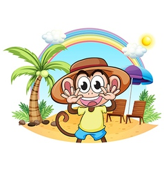 A monkey at the beach vector image vector image
