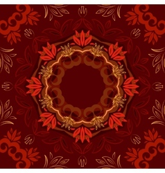 Abstract red floral background with round pattern vector image vector image