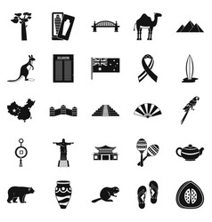 Attraction icons set simple style vector