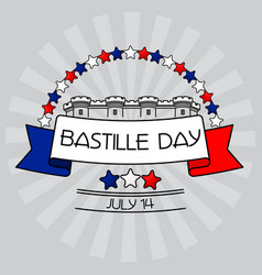 Bastille day card stars bastille fortress vector