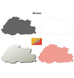 Bhutan outline map set vector