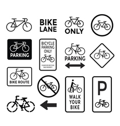 bicycle signs black and white set vector image vector image
