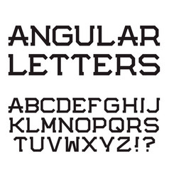black angular capital letters stylish font vector image