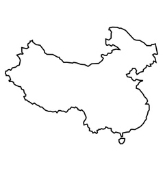 Black contour map of China vector image