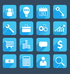 blue business icons set vector image