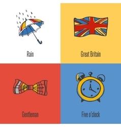 British National Symbols Icons Set vector image vector image