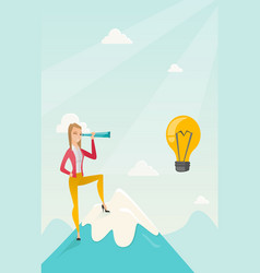 Business woman looking for business idea vector