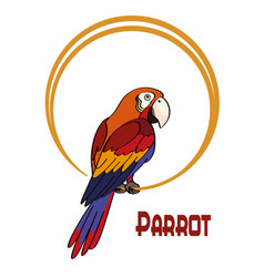 cartoon parrot on the ring vector image