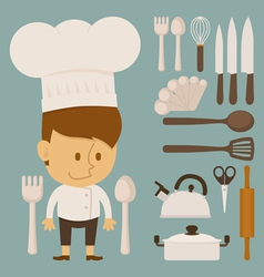 Chef and tool character flat design vector image vector image