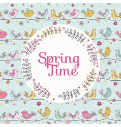 Cute birds card - spring time vector