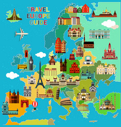 europe travel map vector image vector image
