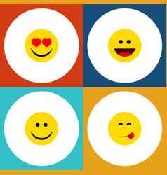 flat icon face set of delicious food love laugh vector image