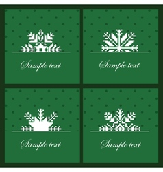 Four snowflakes on the green background vector image vector image