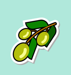 green olive sticker on blue background colorful vector image