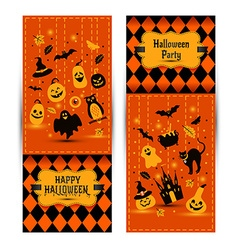 Halloween banners set on colors background vector