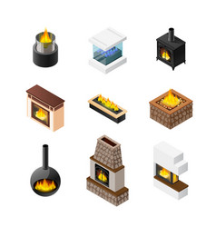 Isometric fireplace icon set vector